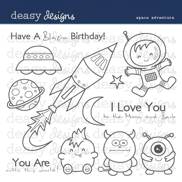 Space Adventure Digital Stamps - great for birthday themes, creating cards, scrapbook layouts and crafts.