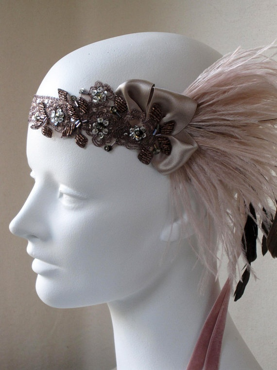 Copper And Champagne Pink Ostrich Feather by BaroqueAndRoll @ Etsy