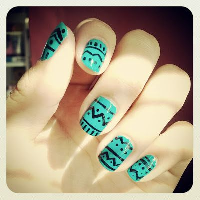 Teal tribal nails...a simpler version than most
