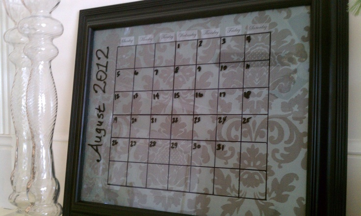 How To Repurpose A Picture Frame Into An   Eraseable Calendar