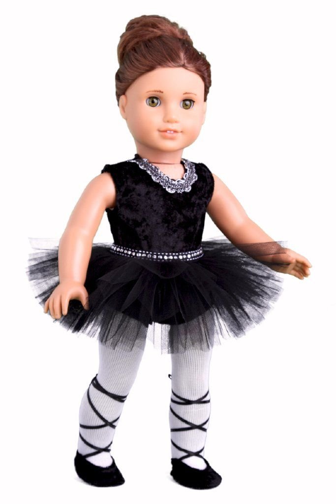 Black crash velvet leotard with silver trim around the neck. Tulle skirt with rhinestone ribbon at the waist. White cotton tights. Black matching ballet slippers with satin ties.    Ballerina outfit contains a wide back closure for easy dressing and clothing removal Our doll clothes fits 18 inch American Girl dolls. Designed in the USA and sold Exclusively by DreamWorld Collections. DOLL(S) NOT INCLUDED U.S. CPSIA CHILDREN'S PRODUCTS SAFETY CERTIFIED