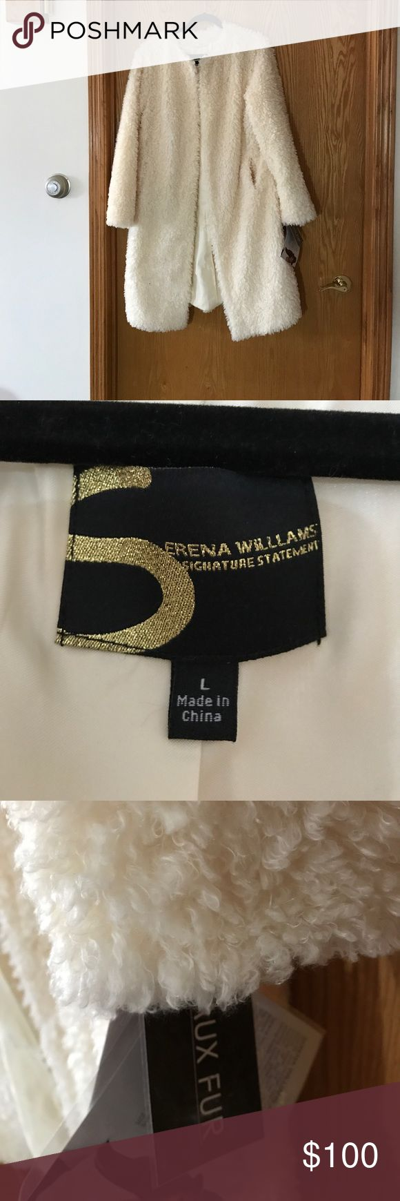 Serena Williams faux fur dress length coat Soft and light weight. Only closure at top of the cost. Has pockets. New..never worn Serena Williams Jackets & Coats