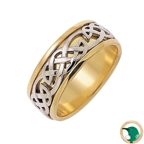 Our Gents Hope Celtic ring shown here in 18ct yellow and white gold