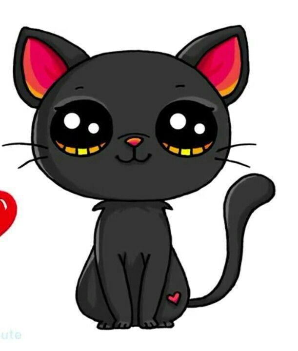 Black Cat Kawaii Desenhos Fofos Animais Kawaii Desenhos