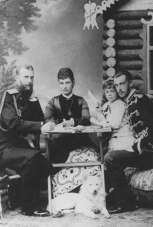 Grand Duke Sergueï Alexandrovitch, Empress Maria Feodorovna with her daugther Xenia and Grand Duke Paul Alexandrovitch.