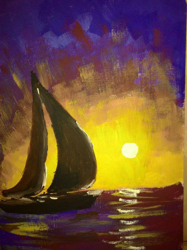 sailing-ship by Gor (gouache, 12.07.2015)