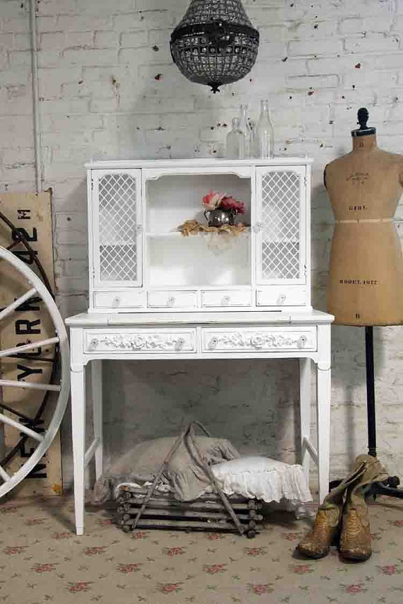 Painted Cottage Chic Shabby White French Desk by paintedcottages, $395.00
