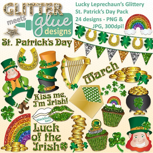 Lucky Leprechaun's Glittery St. Patrick's Day Clipart - Leprechaun Shamrock  #art #teacher #
