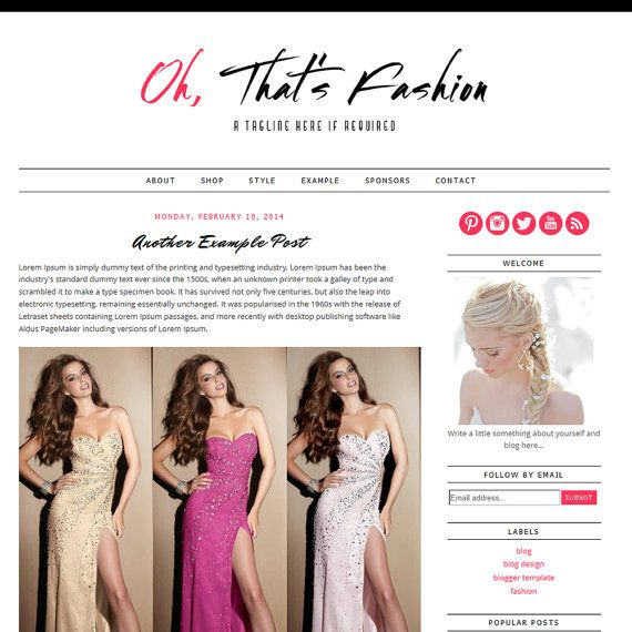 Free fashion blogger templates 20 best fashion blog magazine 72b721553e25fcc787d1801be3aaa35e jpg 570 570 chic pink black pronofoot35fo Gallery