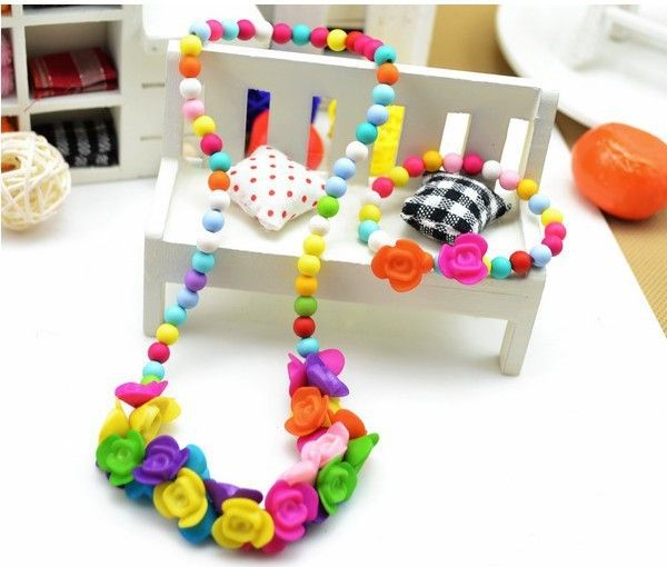 Rainbow Chunky Baby Necklace bracelet sets Bubblegum Necklace Girl toddler Birthday Necklace Baby Jewelry Photo Prop C567