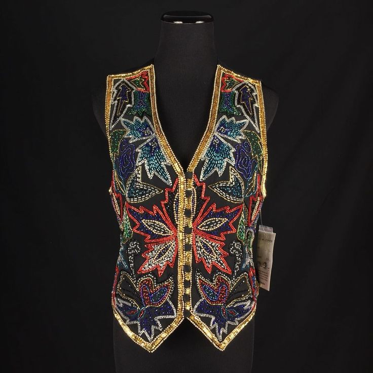 """•Gold sequins and rainbow glass beading. •Black silk. •Length: 19"""". •Bust: 17"""". •Labeled a Small.   eBay!"""