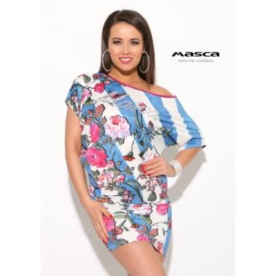 252c1c9a3e Masca Fashion kék-fehér átlós csíkos, aszimmetrikus vállra húzható,  virágmintás lezser miniruha, ezüst köves márka-felirattal