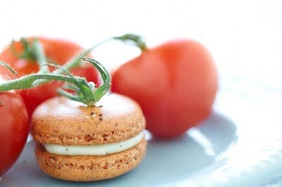 Tomato Macarons with Basil Buttercream sounds like something my father in law would love!
