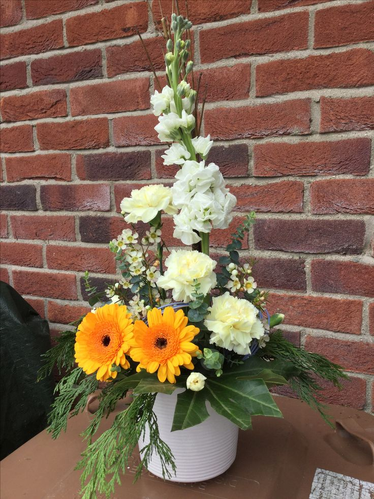 Easter arrangement with stock, gerbera and carnations.