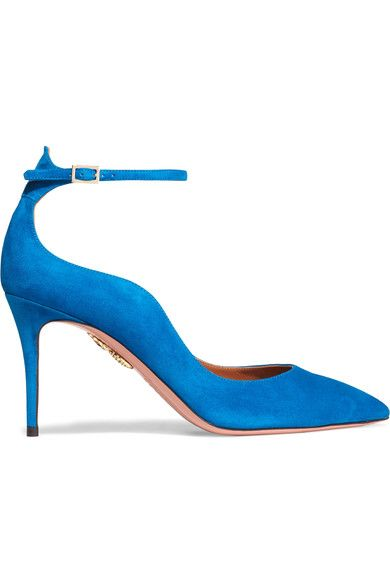 Heel measures approximately 85mm/ 3.5 inches Bright-blue suede Buckle-fastening ankle strap Designer color: Aegean Blue Made in Italy