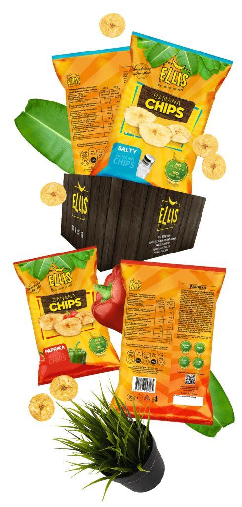 Verpackungsdesign für Ellis Banana Chips