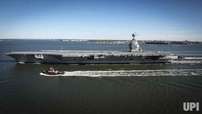 The future USS Gerald R. Ford (CVN 78) sails on its own power for the first time out of Newport News, Virginia on April 8, 2017. The…