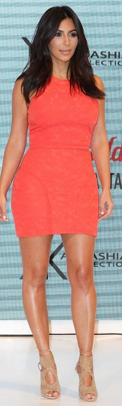 Who made Kim Kardashian's orange dress and tan suede cut out shoes that she wore in Sydney