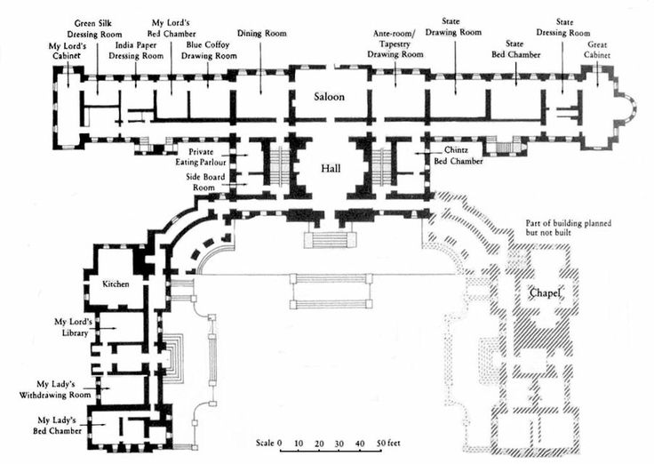 Detail of ground floor plan of castle howard projetos for Castle plans build