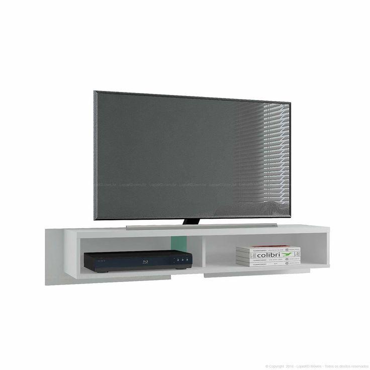 Rack Suspenso para TV até 32 Polegadas Extensível 120 até 185 Araçá Branco Texturizado - Colibri   Lojas KD