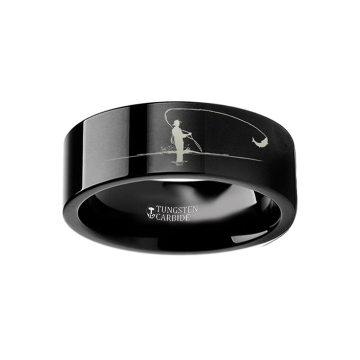 Hunting Landscape Scene Fly Fishing Fishermen Fish Ring Engraved Flat Black Tungsten Ring - 4mm - 12mm