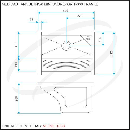 Tanque Inox Mini 44x51,5x26cm Sobrepor TS360 Franke - Hidronox - Casa das pias e cubas em inox