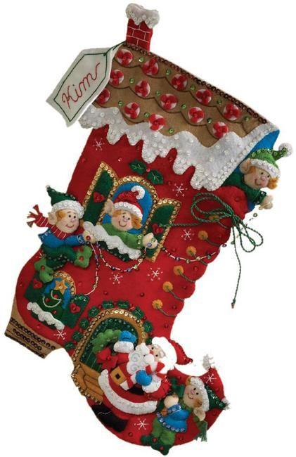 Holiday Decorating Christmas Stocking - Felt Applique Kit