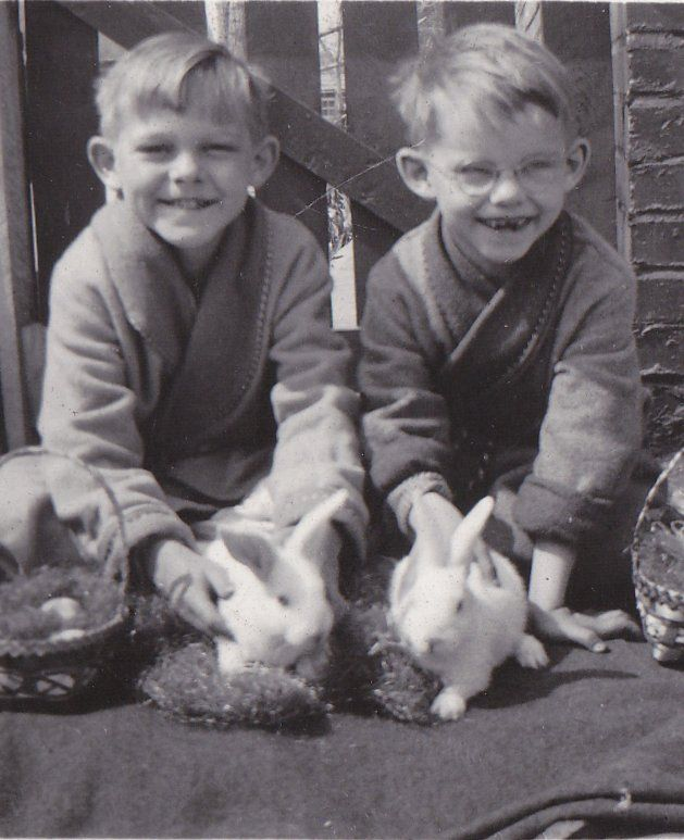 "ephemeraobscura: "" ""REAL-LIVE EASTER BUNNIES!"" - two adorably excited brothers posing with a pair of white rabbits and Easter baskets on Easter Morning., 1930s. """