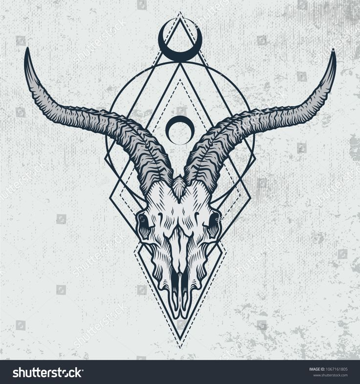 Goat skull in ink graphic technique. Vector illustration of goat skull with sacred geometry shapes on grunge background. Good for posters, t-shirt pri…