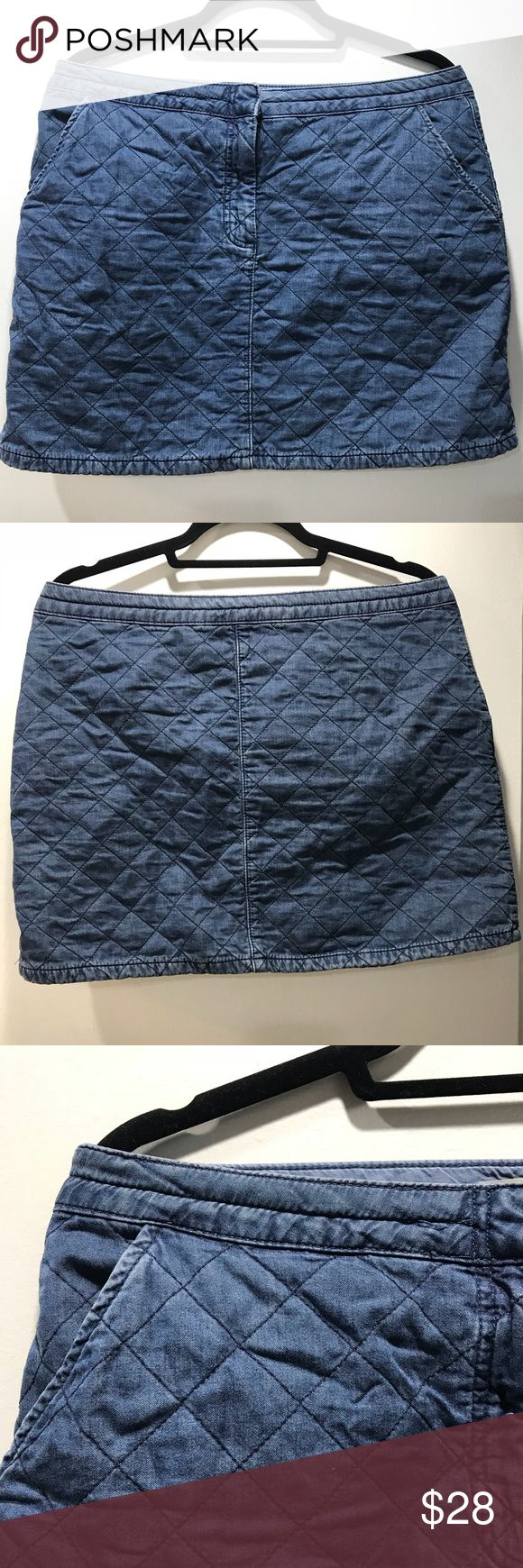 Topshop Moto Quilted Denim Mini Skirt A quilted denim mini skirt that looks great with tights and a sweater for the winter or just by itself and a t-shirt for spring! It is 100% cotton and machine washable. Topshop Skirts Mini