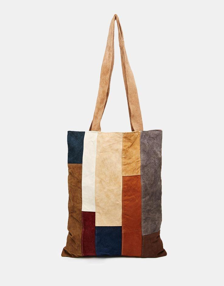 Image 1 ofMilk It Suede Tote Bag in Patchwork