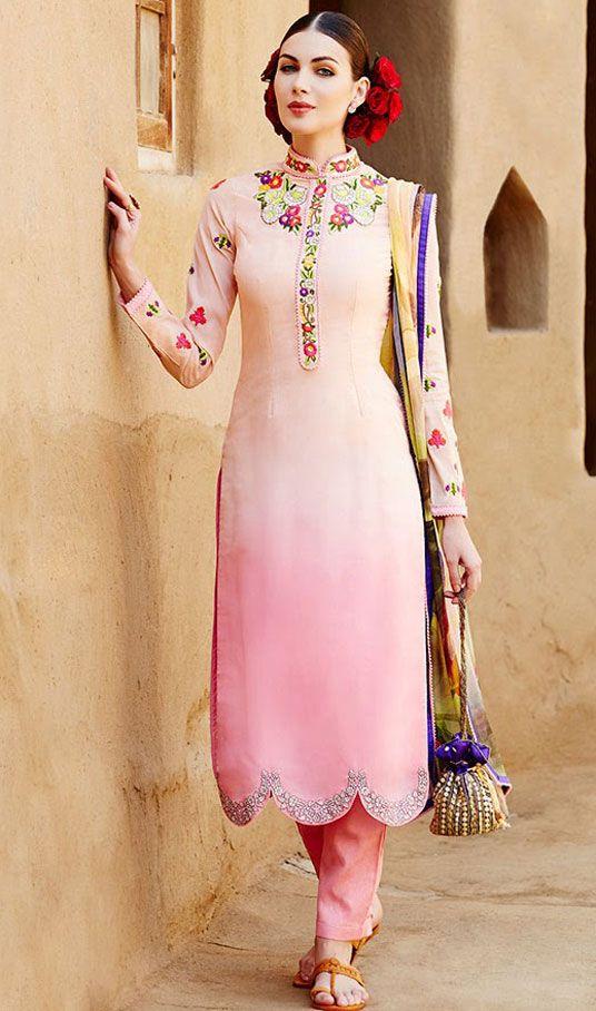 USD 58.24 Light Pink Cotton Satin Churidar Salwar Kameez 44361