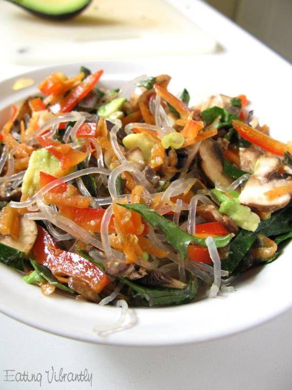 Raw kelp noodle chili salad