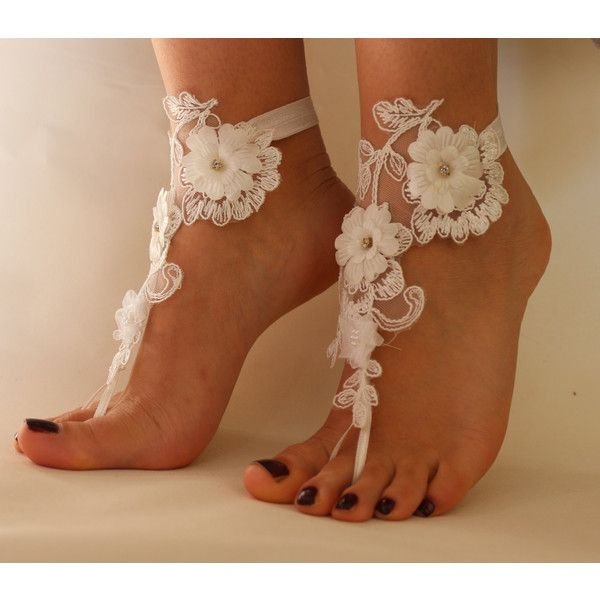 FREE SHİP Beach Wedding Barefoot Sandals, Nude shoes, ,Wedding Anklet,... ($25) ❤ liked on Polyvore featuring shoes, sandals, beach footwear, belly dance shoes, nude shoes, nude footwear and beach shoes