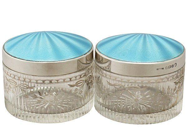 Sterling Silver, Glass and Enamel Dressing Table Jar - Antique George V SKU…