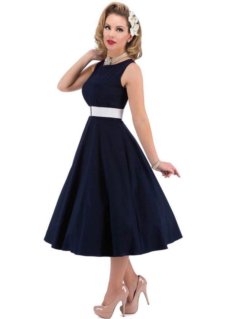 Lady V Hepburn Glamour 50's Swing Jurk Donkerblauw - Jurkjes