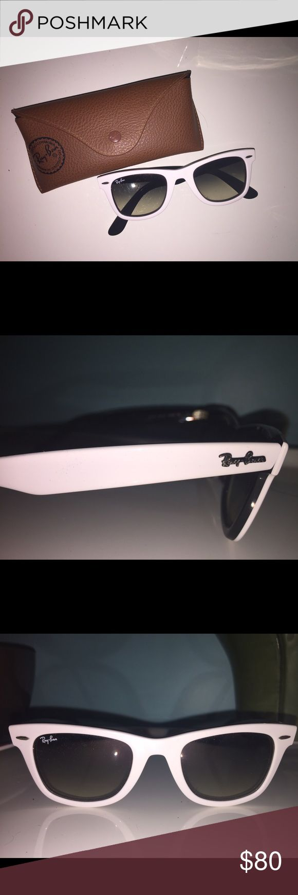 White Ray-Ban wayfarer White Ray-Ban wayfarers with black on the inside. In perfect (good as new) condition! Comes with sunglasses and case! Ray-Ban Accessories Sunglasses