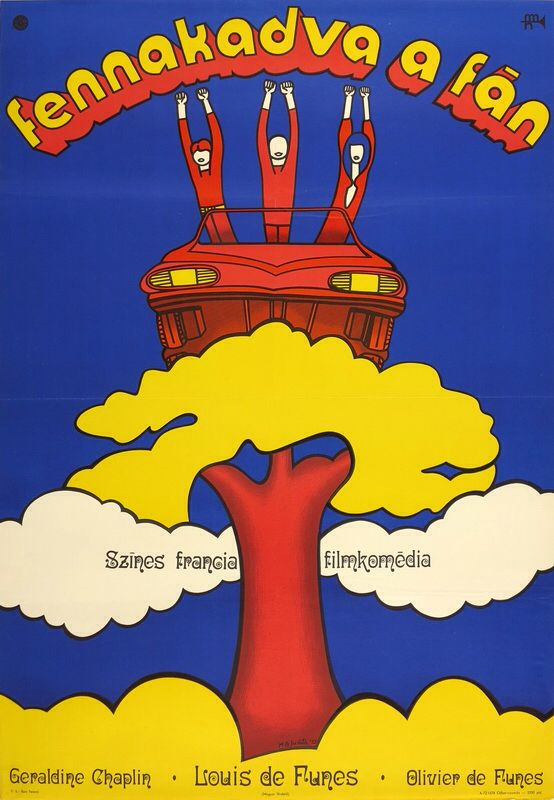 """Hungarian poster of the French film: Perched on a Tree (1971) - """"Sur un arbre perché"""" (original title). The poster is uses blue - yellow contrast and characteristic typography. Artist: M. G. Judit."""