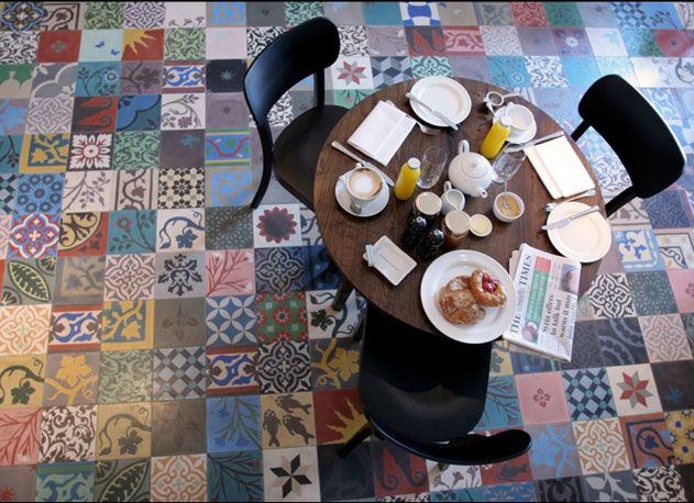 Patchwork of floor tiles, High Road Hotel, Chiswick, London (tiles - Agnes Emery of Emery & cie)