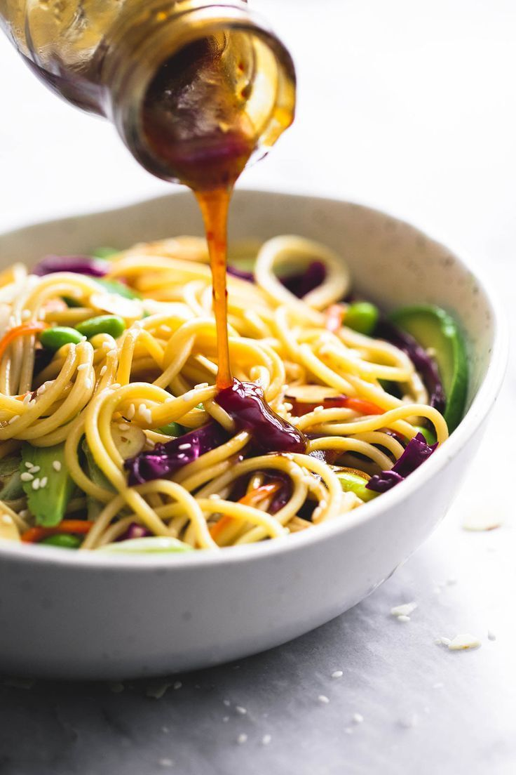Asian Spaghetti Salad with Sesame Ginger Dressing   lecremedelacrumb.com
