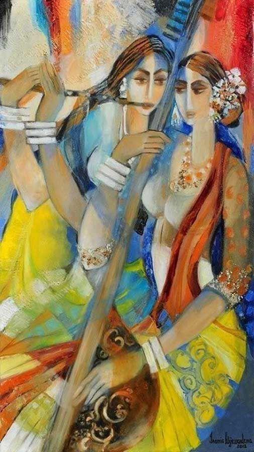 IROMIE WIJEWARDENA -SITAR & FLUTE PLAYER, 2012, Mixed media on canvas, 99 x 53.7cm