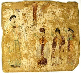 Nestorian priests in a procession on Palm Sunday, in a 7th- or 8th-century wall painting from a Nestorian church in China