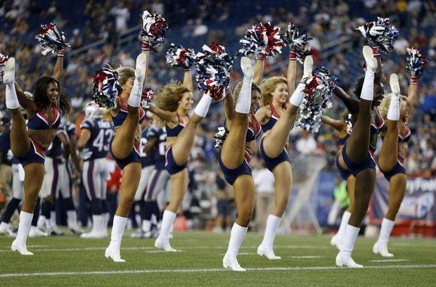 Cheerleaders at the Patriots vs. Packers Preseason game.