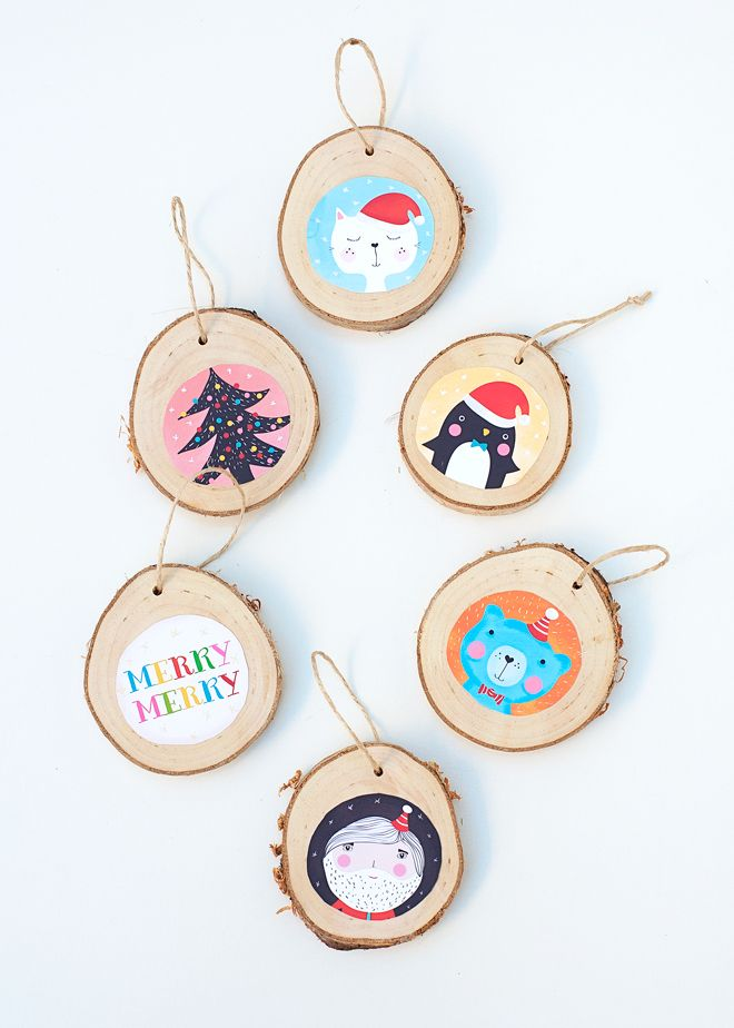 Logs slice thinly with some painted Christmas pictures!