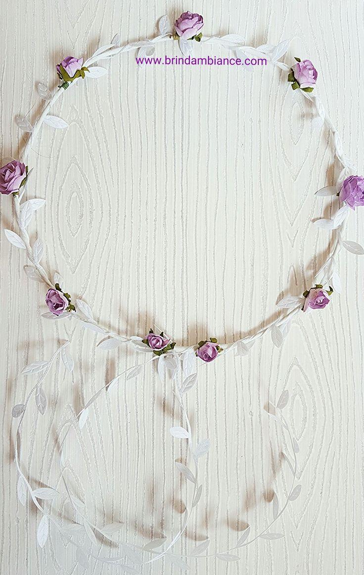 Bandeau à cheveux avec fleurs mauve et ruban blanc - Fait-main par Brin d'ambiance Dinan Headband with purple flowers and white ribbons - Hand made by Brin d'ambiance Dinan