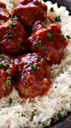 slow cooker porcupine meatballs over rice