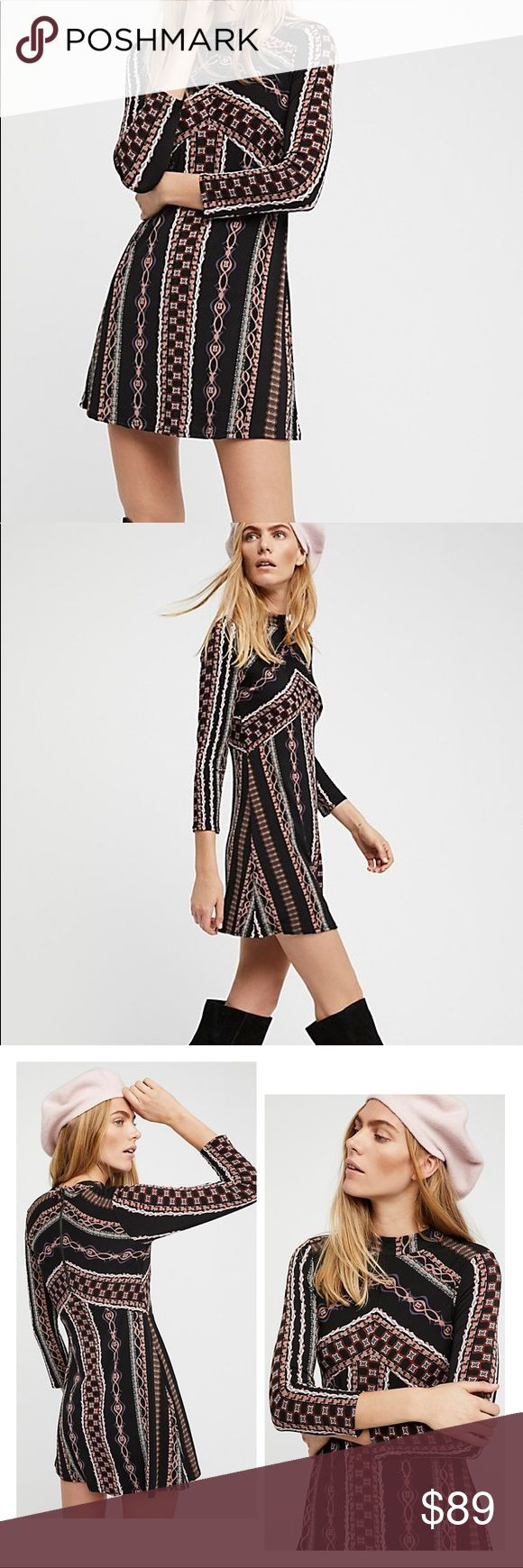 Free People Stella Mini Dress Mod, vintage, classy dress you can dress up or down. Wore twice in December and received lots of compliments. Wear thigh high boots like the model or tights and boots like I did if you're a little modest. Still available at full price online or save some dough and purchase this one today. No wear. Polyester outside and rayon lining. By the way, received high ratings by reviewers. Free People Dresses Mini