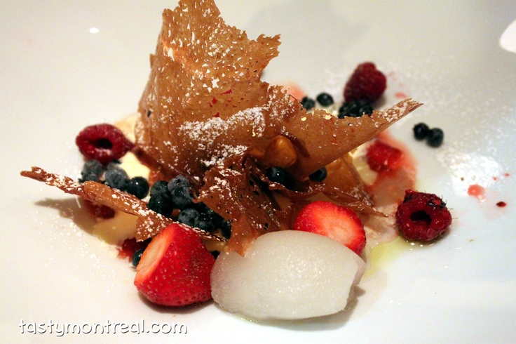 Toqué! [Montreal] - Caramel crisp with wild ginger sorbet, ice cream, fruit syrup, and berries