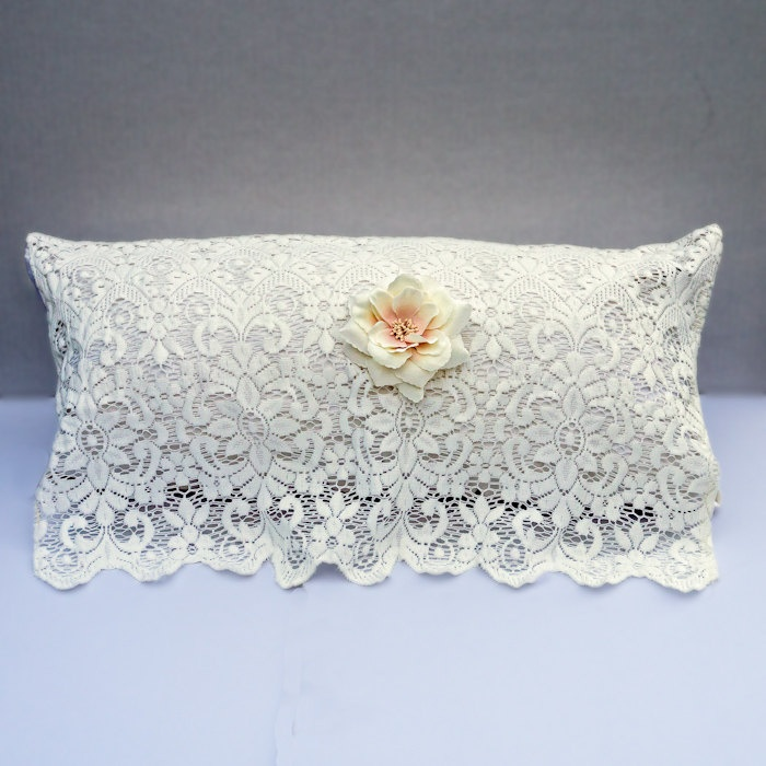Shabby Chic Pillow, Victorian Pillow, Bridal Pillow, Adorned with White Silk and Vintage Lace ...