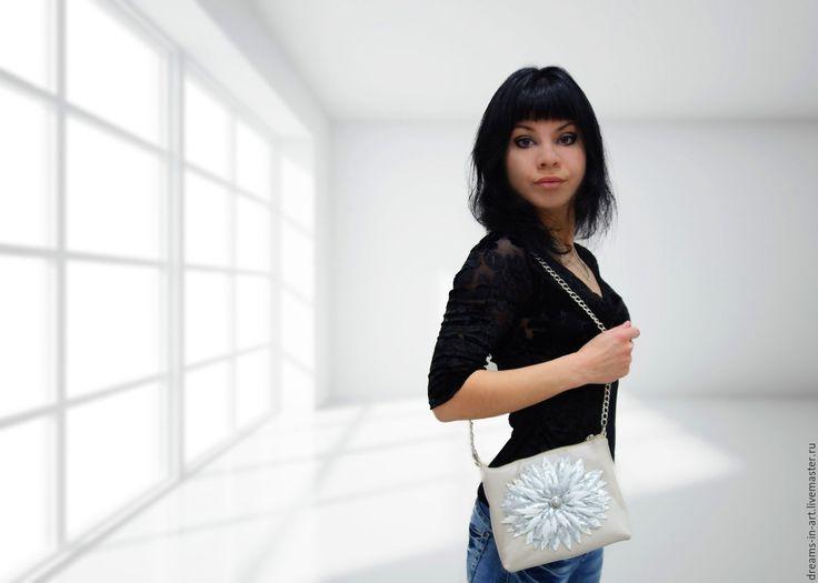 """Купить Кожаная сумочка """"Льдинка"""" - кожаная женская сумка, сумочка мини, подарок девушке женщине"""